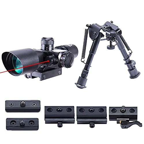 Pinty 2.5-10x40 Red Green Illuminated Mil-dot Tactical Rifle Scope with Red Laser Combo & Rifle Bipod with 6 inch to 9 inch Adjustable Legs, Works with Rifle Slings and Picatinny QD Mo