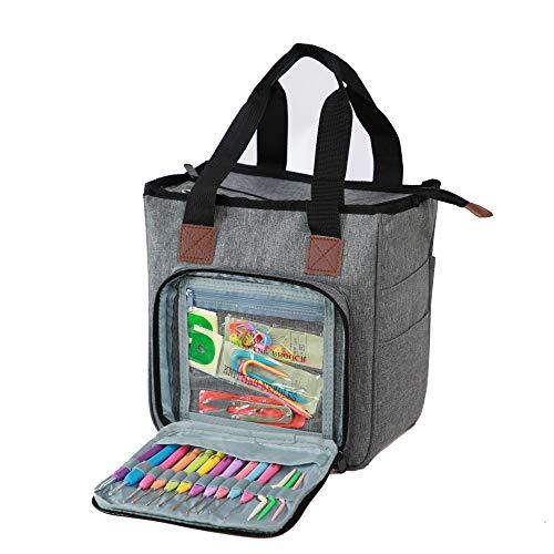 Krucyco Knitting Bag, Yarn Storage Bag for Yarn Skeins, Knitting Needles, Crochet Bag for Knitting Organizer, Yarn Tote (No Accessories Included), Gray
