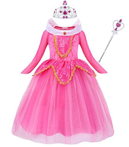 Jurebecia Vestido de Princesa Aurora Disfraces De Niñas Traje Fiesta De Cumpleaños De Halloween Carnaval Cosplay Party Dress up Disfraces con Accesorios Set Rosa 9-10 Años