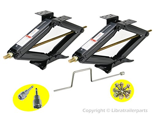 LIBRA Set of 2 24' RV Trailer Stabilizer Leveling Scissor Jacks w/Handle & Power Drill Sockets & Mounting Screws