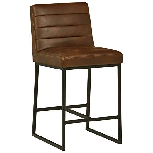 "Amazon Brand – Rivet Decatur Modern Faux Leather Kitchen Counter-Height Stool, 37""H, Dark Brown"