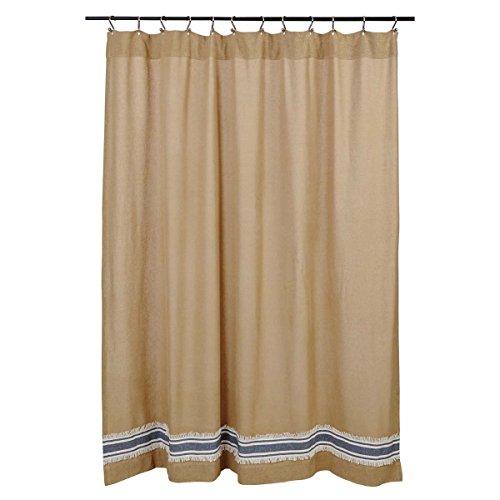 Mill Creek Burlap & Stripe Shower Curtain, 72 x 72, Farmhouse Style