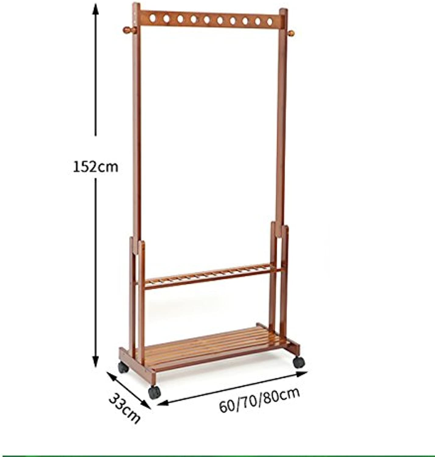 SUNSHINE Hangers Floor Bedroom Bamboo Clothes Storage Shelves With Pulleys Removable Coat Rack ( Size   6033152cm )