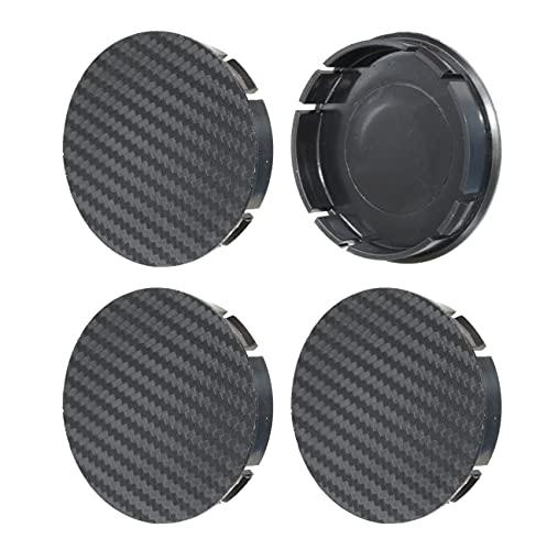 CARBON 4 piezas Buje Tapas 60mm Tapas Centrales Tapas para Llantas Tapas de Rueda Hubcaps (Negro)