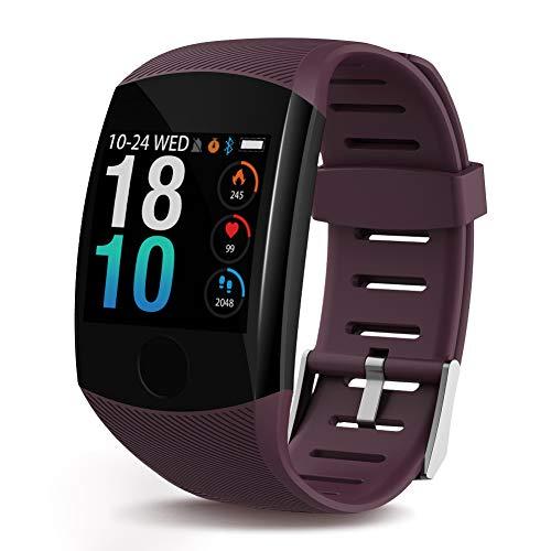 Polywell Fitness-Tracker, Aktivitätstracker mit Herzfrequenz-Monitor und Schlaf-Monitor, Bluetooth, wasserdicht, Schrittzähler und Kalorienzähler (Wine red)