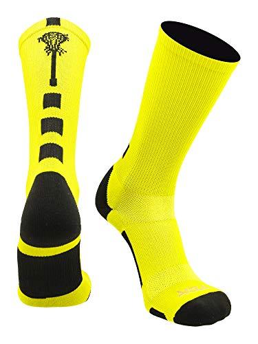 Midline Lacrosse Logo Crew Socks (Neon Yellow/Black, Small)