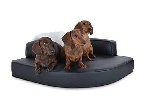 PadsForAll Hoek-hondenbed, hondenkussen, hondensofa, kunstleer ZWART, ook orthopedisch, 80x80cm, Standaard schuimrubber.