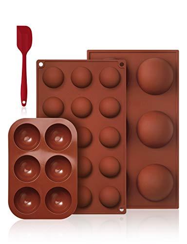 Pukitt 3pcs Stampi per Cioccolato Silicone Stampi per Praline e Caramelle Silicone Semisfera Vassoio per Cioccolato 3 Diverse Dimensioni