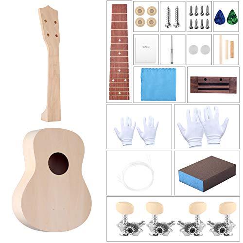 DIY Ukulele Kit with Installation Tools Wooden Small Hawaiian Guitar Ukalalee for Kids Students Beginners 21inch