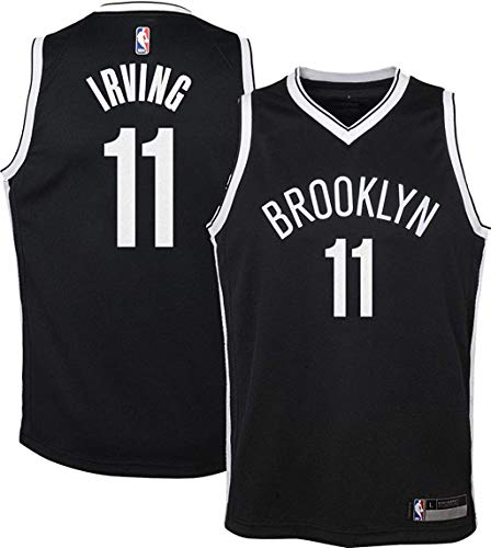 Outerstuff Kyrie Irving Brooklyn Nets NBA Boys Kids 4-7 Black Road Replica Jersey (Kids 5/6)