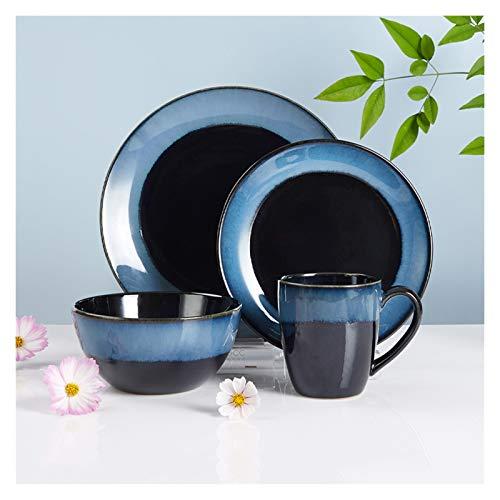 Platos de comida Placas y cuencos para el hogar Conjuntos de placa de cena de cerámica duraderas Conjunto de vajillas azules de 4, platos de cena, placas de ensalada y taza Platos de cena pequeños