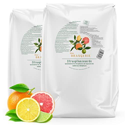 Meine Orangerie Zitruserde und mediterrane Pflanzenerde [20l] - Spezial-Zitronenerde mit Zitrusdünger - Pflanzerde für anspruchvolle mediterrane Kübelpflanzen wie Olivenbaum, Oleander, Avocado Erde