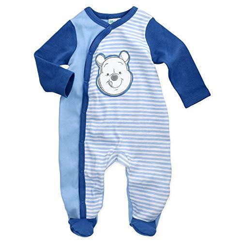 Babybogi Winnie Pooh Baby Strampler   Größe 62-68 74-80   Disney Strampler Blau für Junge   Baby Schlafanzug Langarm mit Füßchen (62/68)