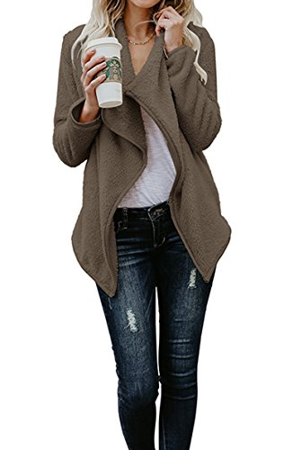 Hibluco Women's Casual Long Sleeve Faux Fur Jacket Open Front Cardigan (Coffee, X-Large)