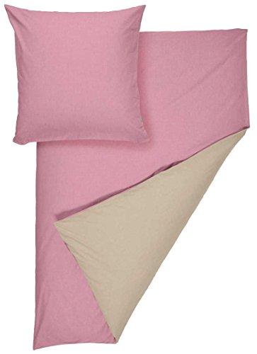 Meradiso® Chambray-Wendebettwäsche Bettwäsche Bettbezug, 100% Baumwolle, 155 x 220 cm (rosa/beige)