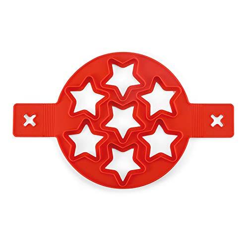 Juren Molde de Tortilla de Silicona Molde de Silicona Antiadherente Reutilizable de 7 Agujeros Pancake Molde de Silicona Multipropósito (Red Star)