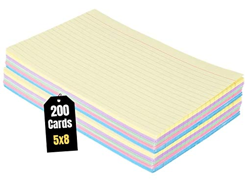 1InTheOffice Index Cards 5 x 8 Ruled Colored, Assorted 200/Pack
