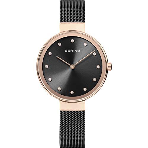 BERING Damen Analog Quarz Classic Collection Armbanduhr mit Edelstahl Armband und Saphirglas 12034-166