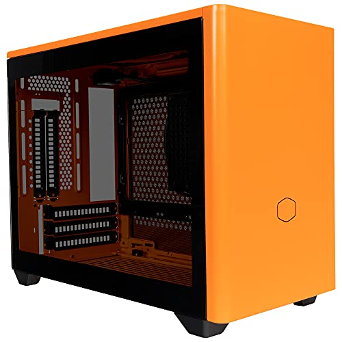 Cooler Master MasterBox NR200P Caja Ordenador Mini ITX, Panel Lateral Cristal Templado, Opciones de Enfriamiento óptimos, Exposición GPU Vertical, Accesibilidad 360 Grados Sin Herramientas, Naranja