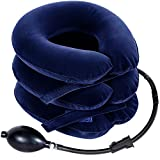 Neck Traction Ohuhu Neck Cervical Traction Collar Device for Neck Shoulder Back Head Pain Relief Inflatable Spine Alignment Pillow, Dark Blue Father's Day Gift