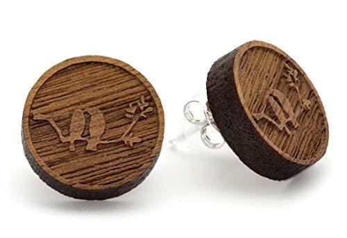 NaturSchatulle Holzohrringe Vogel Gravur 15mm Holzschmuck Holz Ohrringe 925 Sterling Silber I natürliche Ohrschmuck Ohrstecker Damen