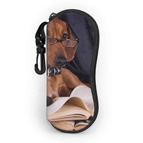Estuche blando para gafas de sol Estuche protector portátil ultraligero con clip para cinturón, Puppy Purebred Dachshund