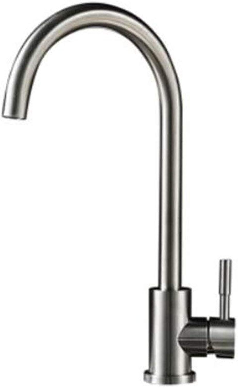 Oudan 304 Stainless Steel Cold Basin Kitchen Vegetables Whole Copper Sink Faucet Lead redatable Ceramic Valve Core, B (color   A, Size   -)