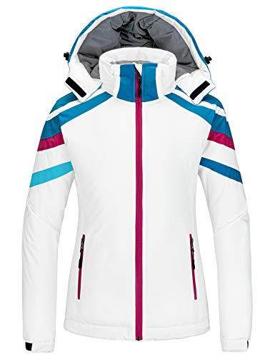 Wantdo Women's Mountain Ski Jacket Waterproof Snow Coat Windproof Winter Raincoat White L