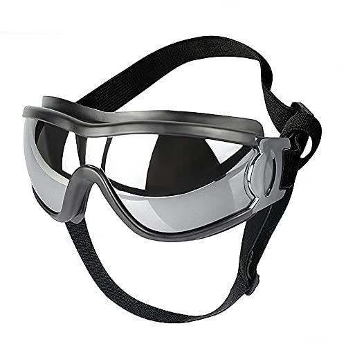 MEROURII Gafas de Sol para Perros, Protección Ocular para Mascotas, Gafas Ajustables a Prueba de Viento para Perros Medianos Grandes