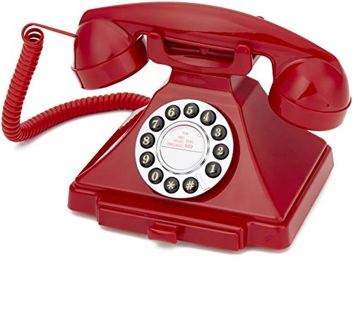 GPO Carrington Teléfono de Botones Retro - Bandeja extraíble, Timbre Tradicional auténtico - Rojo