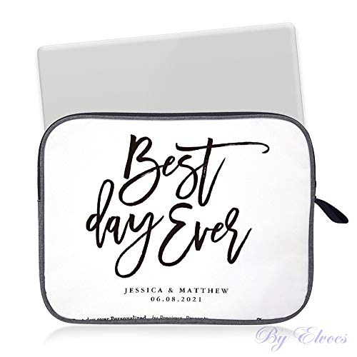 Laptop Sleeve Water Repellent Neoprene Bag Protective Case Cover Compatible with MacBook Pro/Asus/Dell/HP/Sony/Acer 14 inch, Best Day Ever Personalized Wedding Welcome