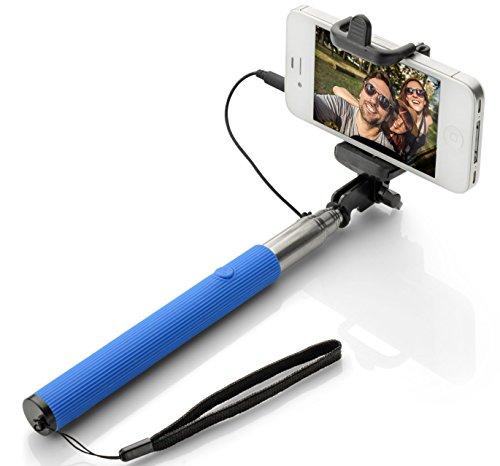 Wpro Selfiestick 3 Farben – Kabel – Teleskopstab |Zubehör|Fotos |Stick – Stab |iOS 5.0 Android OS 4.0 | blau Selfie Stick mit Auslöser für Alle Handys 2017 [Verstellbare Länge 22cm - 100cm ]