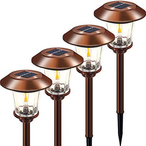 Otdair Solar Path Lights Outdoor, 4 pcs Stainless Steel Outdoor Solar Powered Landscape Lights, Waterproof Solar Yard Lights 2 Brightness for Garden Lawn Patio Walkway Path Warm White