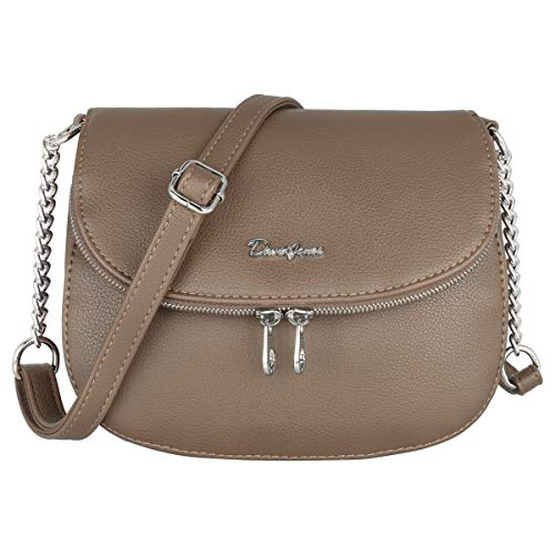 David Jones - Borsa a Tracolla Piccola Donna - Borse a Mano Spalla Catena PU Pelle Zip - Borsetta Elegante Messenger Crossbody Bag - Pochette Clutch Quotidiana Moda Lavoro Viaggio - Cammello Marrone
