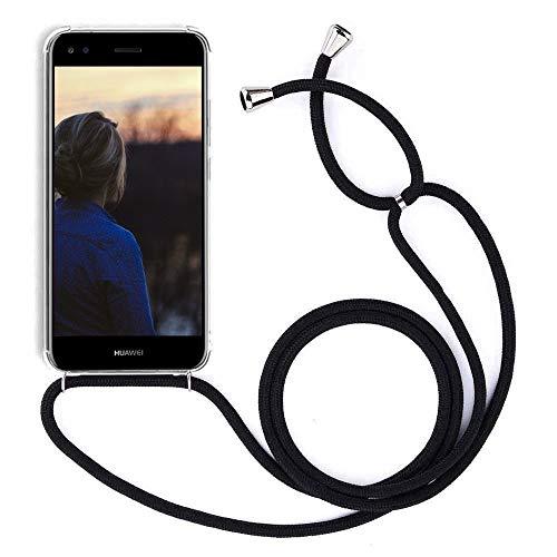 YuhooTech Handykette Handyhülle für LG K50S Smartphone Necklace Hülle mit Band - Schutzhülle mit Kordel Umhängenband - Schnur mit Hülle zum umhängen in Schwarz