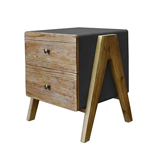 Carl Artbay Home & Selected Furniture/industriële stijl nachtkastje met 2 laden sluitvakken sofa bijzettafel hoektafel 49 x 35 x 51 cm