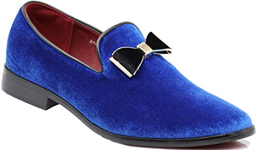 SPK23 Men's Vintage Bow Tie Velvet Dress Loafers Slip On Fashion Shoes Classic Tuxedo Formal Shoes (9 D(M) US, Royal Blue)