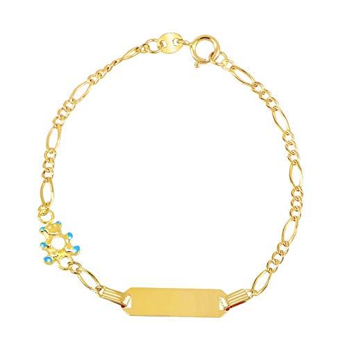 Facco - Pulsera infantil de oro amarillo 750 con placa y osito esmaltado azul, 14 cm | Pulsera infantil de alta calidad | Certificado de garantía y autenticidad
