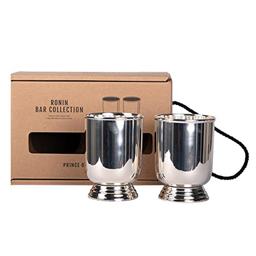 Ronin Bar Collection Cocktail Set Prince of Wales Trinkbecher, Premium Geschenkbox, 2 hochwertige Metallbecher versilbert, top Verarbeitung