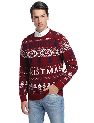 Hawiton Jersey de Navidad para Hombre Suéter de Punto Muñeco de Nieve Cuello Redondo Invierno Manga Larga Jersey S-XXL