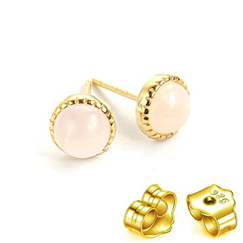 HUYV Stud Earrings For Woman,Fashion Natural Round Pink Crystal Stone Golden Earrings 925 Silver Stud Earrings For Christmas Birthday Jewelry Gift Men Girls