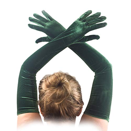 """FANCY Wedding Emerald Green Long Velvet Gloves Comfortable and Fashion for special person 23"""" length 16BL 1920s Party Social Events, and Like a movie Great Gatsby, and Charleston Costume."""