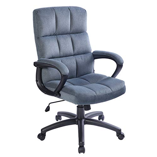 Qulomvs Computer Office Chair with Arms Ergonomic Design Fabric Executive Desk Chair for Home and Office Super Soft Back Support 360 Swivel Task Chair with Wheels (Blue Grey)