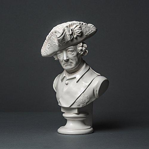 Friedrich II Skulptur aus hochwertigem Zellan, echte Handarbeit Made in Germany, Figur Geschenkidee, Büste in weiß, 25cm
