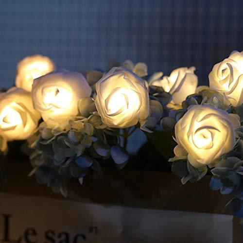 OUYA Rose Flower String Fairy Lights - Battery Operated Outdoor Fairy Light for Valentine's Day Wedding Room Decor,10LED