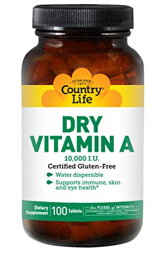 Country Life, Dry Vitamin A 10,000 I.U, Tablets, 100-Count