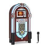 auna Graceland Touch - Gramola, Panel de Control táctil 12'', Reproductor CD, MP3, Bluetooth, Micrófono, Sintonizador Radio FM, Puerto USB, Ranura SD, Iluminación LED, 7 Colores, Marrón