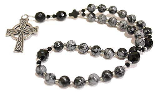 Anglican Rosary of Snowflake Obsidian, Sturdy Celtic Cross