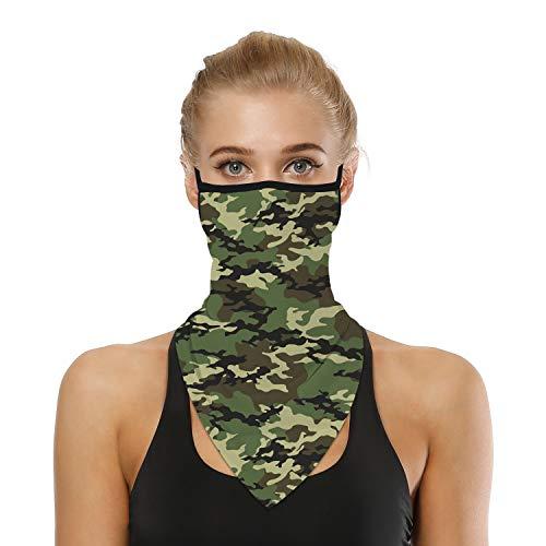 SRVOKOX Fashionable Military Camo Bandana Neck Gaiter Face Mask Covering Bandanas for Men Women Summer UV Cooling Face Scarf Mask Cover Ear Loop Hole Triangle Facemask for Fishing Run