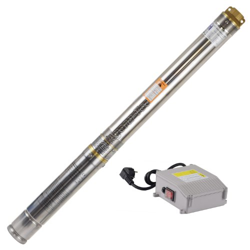 Agora-Tec® AT- 3 Zoll Edelstahl- Brunnenpumpe Tiefbrunnenpumpe 370W mit 15 m Kabel max: 5,5 bar, max: 3000l/h